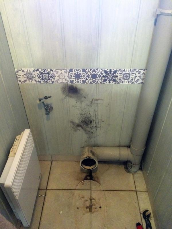 Après dépose de l'ancien WC.